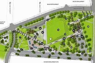 A future concept map of the 12-acre, urban-style park the village of Schaumburg is proposing in the heart of the 225-acre Veridian development on the former Motorola Solutions campus, at the southwest corner of Algonquin and Meacham roads.