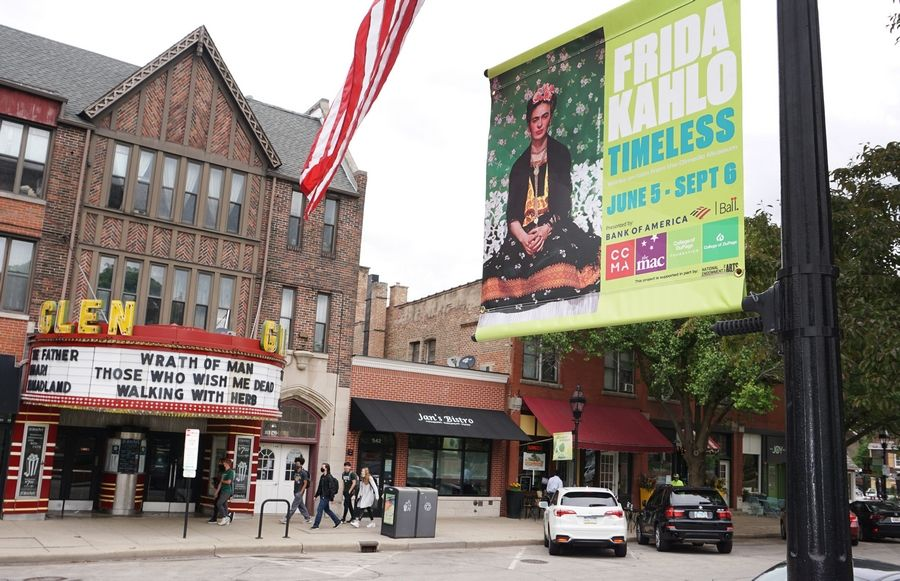 Banners advertise the upcoming Frida Kahlo exhibit in Glen Ellyn.