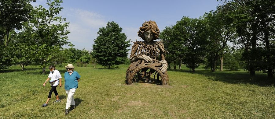 """The """"Umi"""" sculpture at the Morton Arboretum in Lisle is on the east side of the 1,700-acre outdoor museum. The maternal figure is made with hand-carved concrete by South African artist Daniel Popper."""