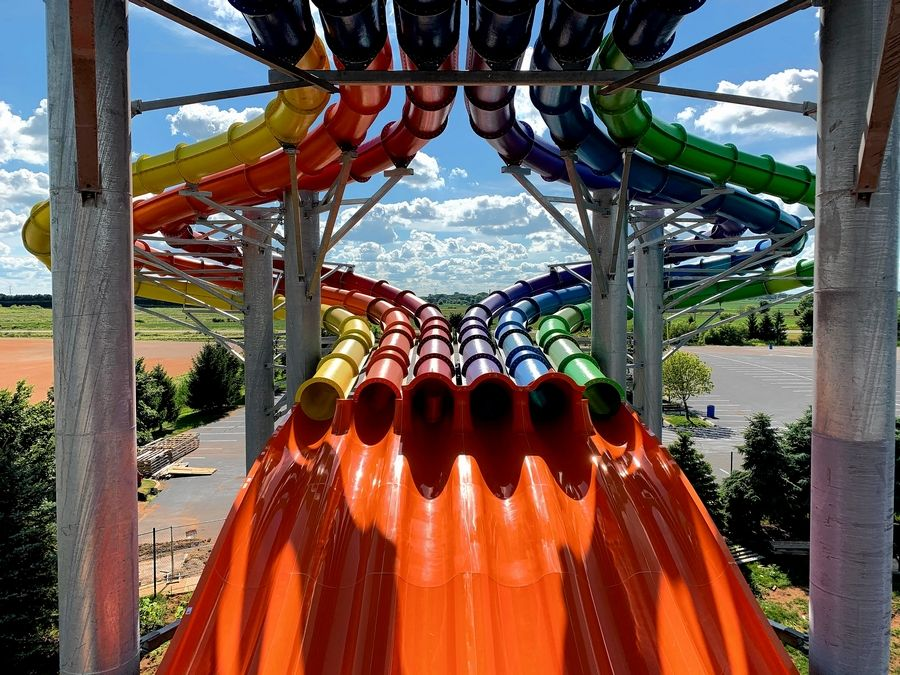Raging Waves in Yorkville opens for the season on Saturday June 5th.  One of the main attractions is the Aussie Mat Dash racing slides.