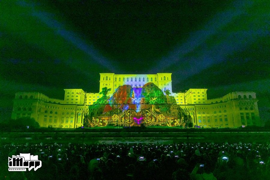 Projections designed by George Berlin have graced the massive facade of the Palace of Parliament in Bucharest, Romania.