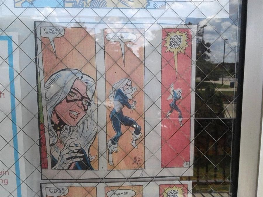 This Spider-Man comic strip in the window of Graham Crackers Comics in DeKalb tells customers -- in no uncertain terms -- of the store's new mask requirement.