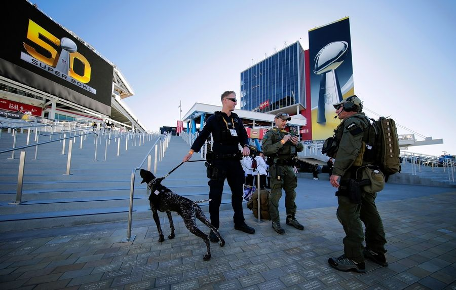 Super Bowl security, seen here during Super Bowl 2016 in Santa Clara, Calif., Is one of the major costs incurred by host cities.