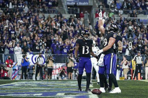 Baltimore Ravens tight end Mark Andrews (89) celebrates his touchdown during the second half of an NFL football game against the Indianapolis Colts, Monday, Oct. 11, 2021, in Baltimore.