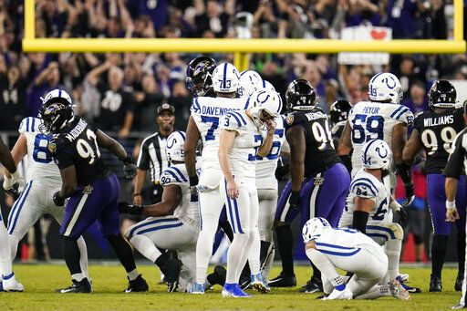 Indianapolis Colts kicker Rodrigo Blankenship (3) reacts after missing a field goal late in the second half of an NFL football game against the Baltimore Ravens, Monday, Oct. 11, 2021, in Baltimore.