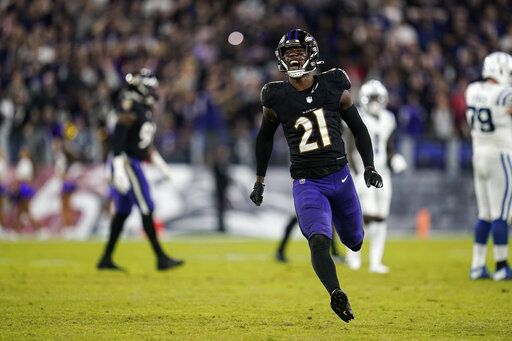 Baltimore Ravens free safety Brandon Stephens (21) celebrates during the second half of an NFL football game against the Indianapolis Colts, Monday, Oct. 11, 2021, in Baltimore.