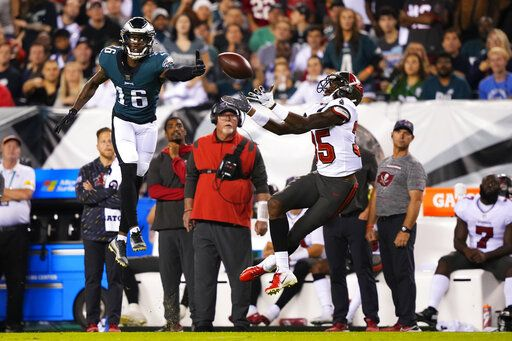 Tampa Bay Buccaneers tight end OJ Howard (80) beat the Philadelphia Eagles outside of centerback Alex Singleton (49) in the first half of an NFL football game in Philadelphia on Thursday, October 14, 2021.