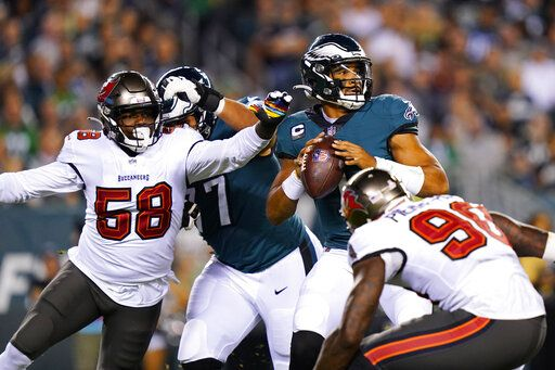 Tampa Bay Buccaneers corner player Jamel Dean (35) caught a pass to Philadelphia Eagles wide player Quez Watkins (16) during the first half of an NFL football game in Philadelphia on Thursday, October 14, 2021.