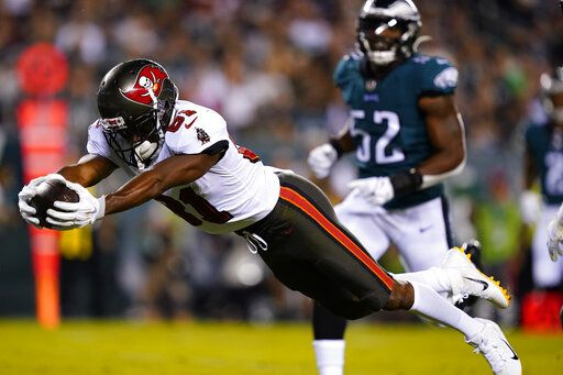 Tampa Bay Buccaneers' Antonio Brown (81) scored a goal in the first half of an NFL football game against the Philadelphia Eagles on Thursday, October 14, 2021, in Philadelphia.