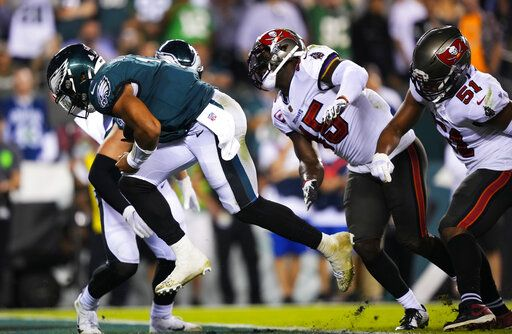 Philadelphia Eagles quarterback Jalen Hurts scored in the second half of an NFL football game against the Tampa Bay Buccaneers on Thursday, October 14, 2021, in Philadelphia.