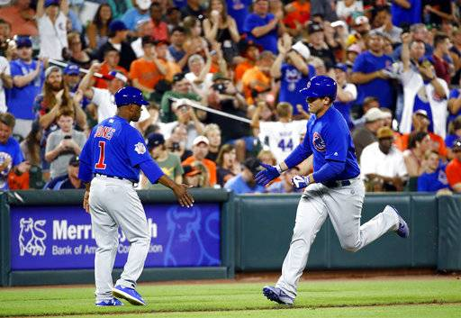 Chicago Cubs' Anthony Rizzo, right, rounds the bases past third base coach Gary Jones after hitting a solo home run in the eighth inning of a baseball game against the Baltimore Orioles in Baltimore, Saturday, July 15, 2017.