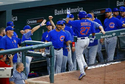 Members of the Chicago Cubs greet Addison Russell (27) after he hit a solo home run in the fourth inning of a baseball game against the Baltimore Orioles in Baltimore, Saturday, July 15, 2017.