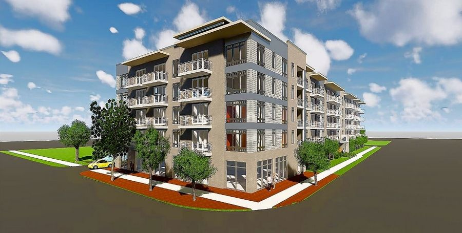 An artist's rendering shows the five-story, 79-unit Hickory Apartments proposed to be built on the northwest corner of Hickory Avenue and Kensington Road.
