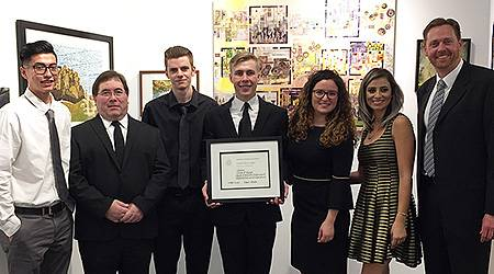 Seven College of DuPage Architecture students have received a 2017 Distinguished Project Merit Award from the American Institute of Architects Northeast Illinois Chapter. Pictured, from left, are Jose Maldonado, Scott Sallmann, Michael Keslinke, Andrew Dunlop, Arlinda Haxhiu, Malak Saadeh and College of DuPage Professor of Architecture Mark Pearson.