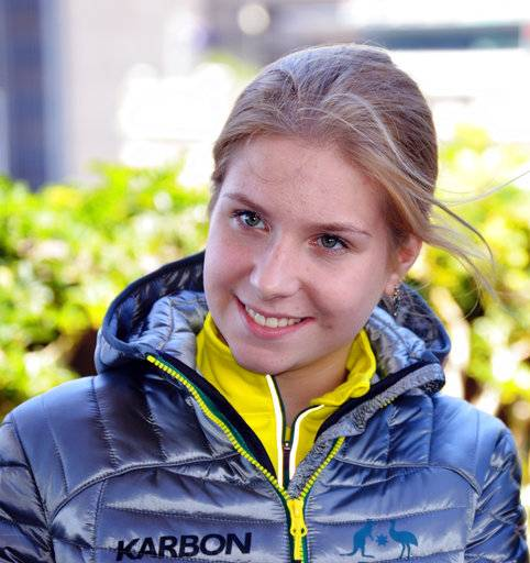 Figure skater Ekaterina Alexandrovskaya poses for pictures after being named in the Australian team for the 2018 Winter Olympics, in Sydney, Australia Thursday, Nov. 9, 2017. Alexandrovskaya and Harley Windsor secured an Olympic spot with a bronze medal in a qualifying competition in Germany in late September and were among the first athletes confirmed in then Australian team on Thursday.