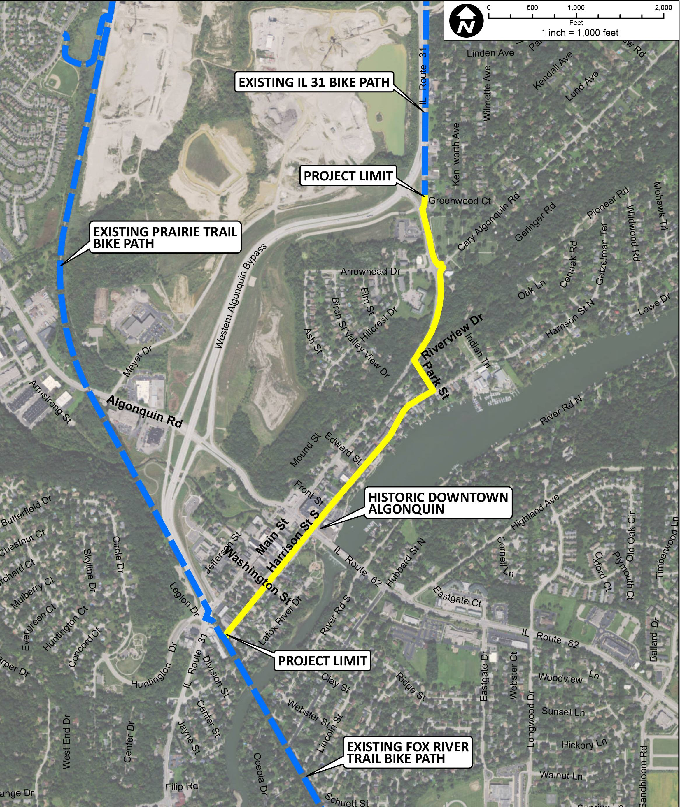 Algonquin plans to create a new $1.8 million bike path (outlined in yellow) that would run through its downtown district and connect two regional trails -- the Route 31 bike path and McHenry County's Prairie Trail.