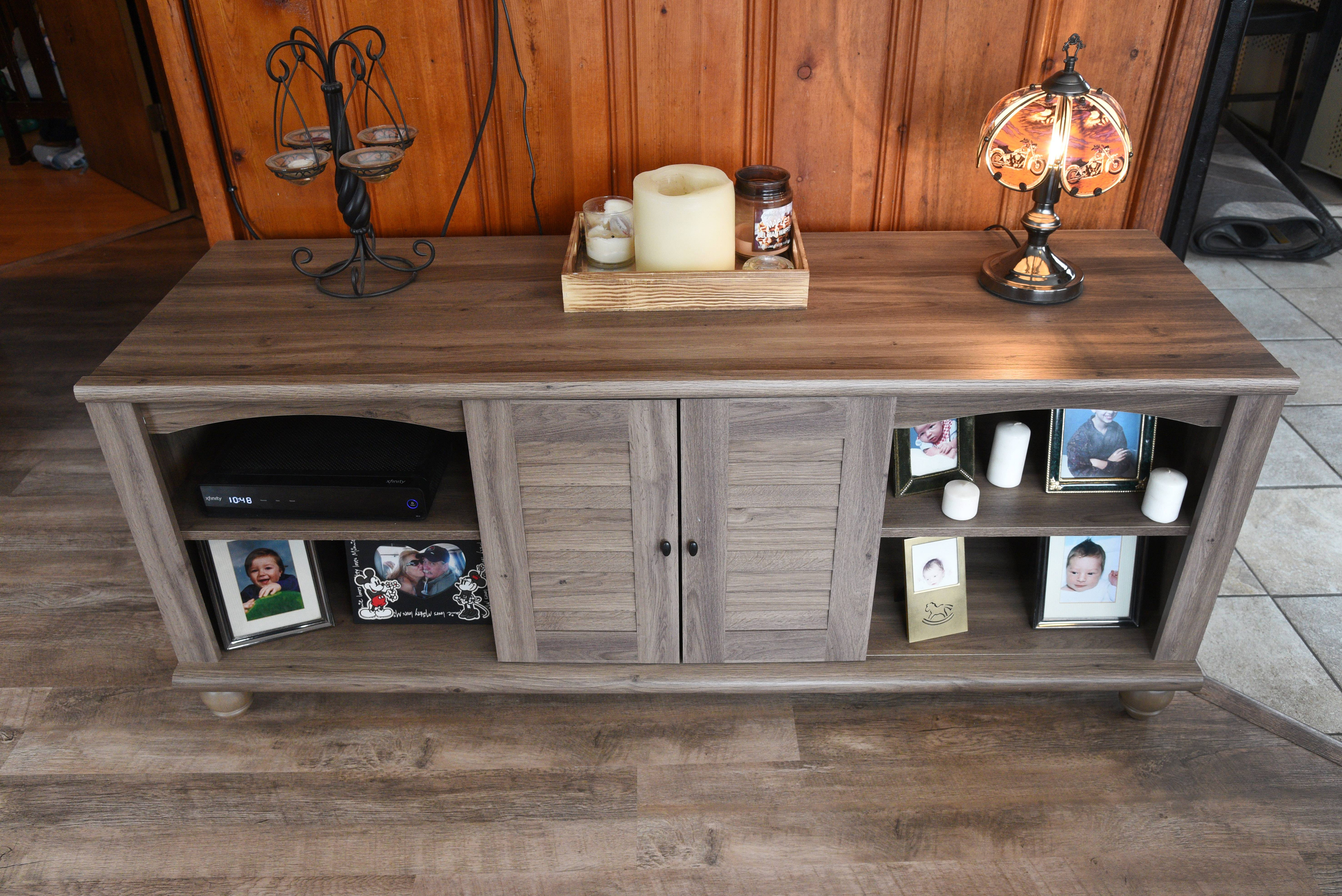 A television stand that Harry and Amy Walters selected for their Round Lake home.
