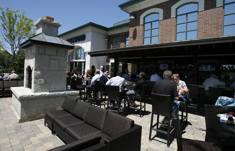 Fireplaces And Lounge Seating Are Included In The Outdoor Dining Area Of Westwood Tavern Schaumburg