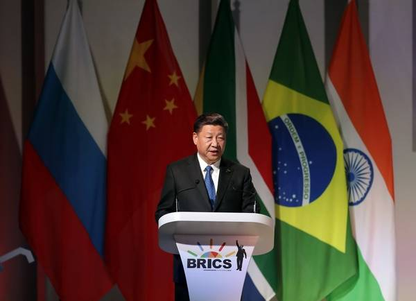 Chinese President Xi Jinping delivers his speech at the opening of the BRICS Summit in Johannesburg Wednesday, July 25 2017. The summit runs through Friday with various heads of BRICS attending.