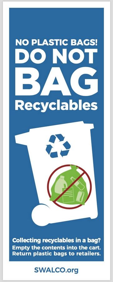 A Solid Waste Agency of Lake County label gives instructions on plastic bags and recycling.