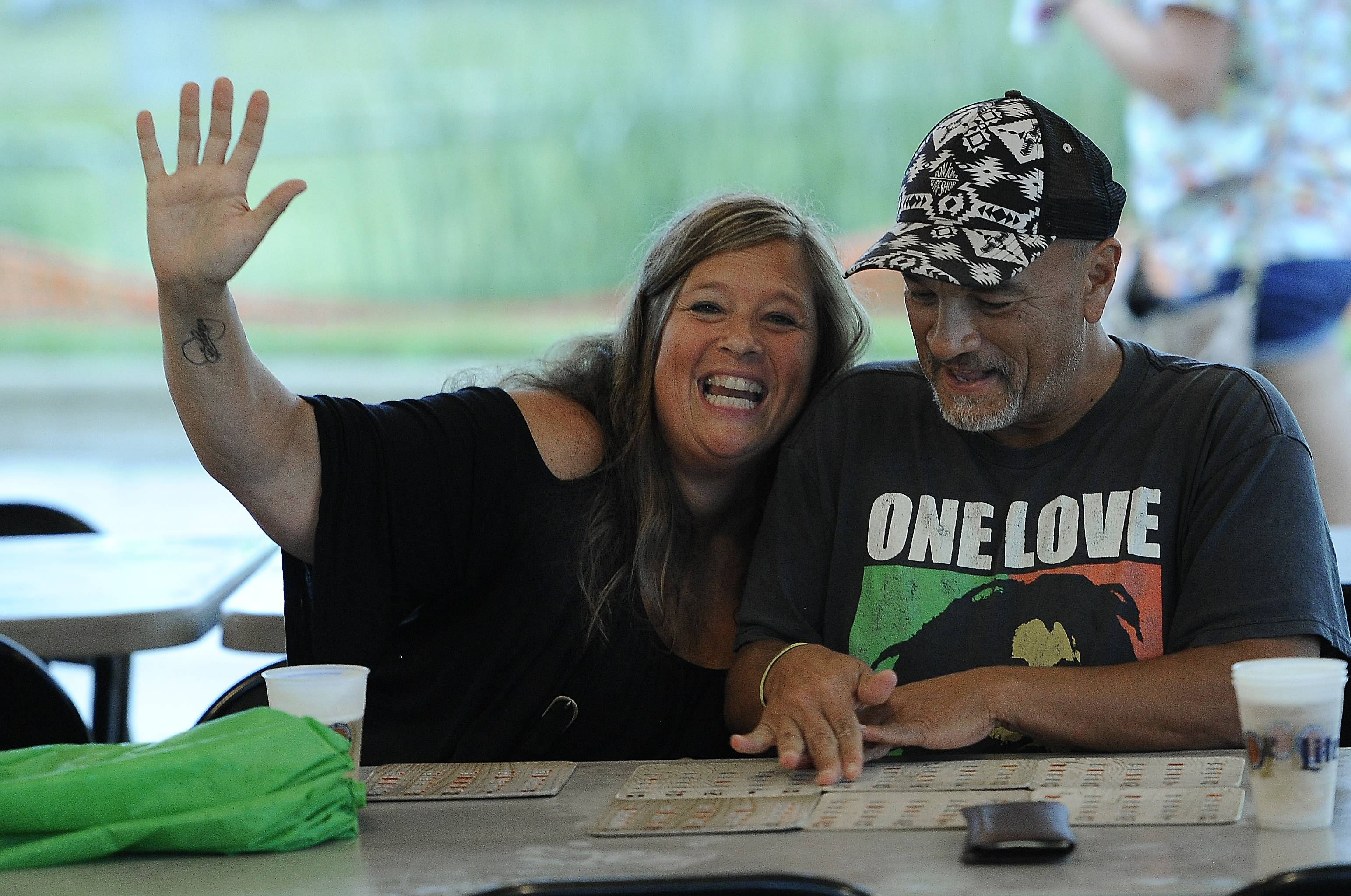 "Jill Ebert yells out ""Bingo!"" as she plays alongside Denis Gravel. Both are from Lindenhurst. Thursday was the first day of Lindenfest in Lindenhurst."
