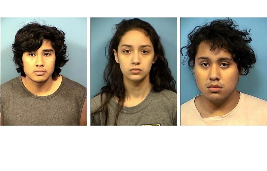 From left, Francisco Alvarado, Tia Brewer, and Jesus Jurado Correa have been charged in the murder of Luis Guerrero, 18, of West Chicago.