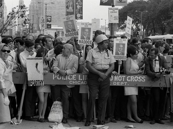 Police Barricades Aimed To Keep Protesters And Other Observers Under Control At The 1968 Democratic National