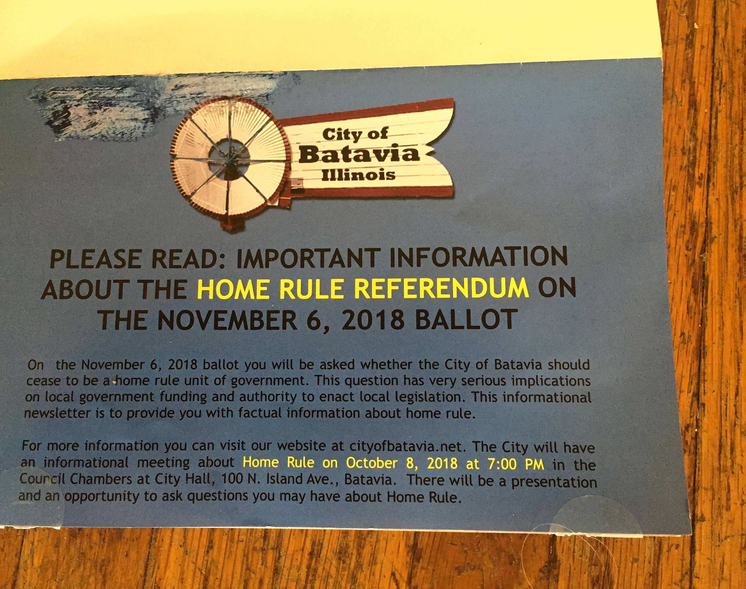 Part of a flier the City of Batavia mailed to residents last week about the Nov. 6 home-rule referendum.