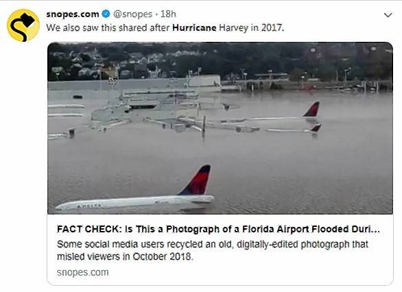 A flooded airport shown and shared on social media was not from Hurricane Michael, and in fact wasn't an authentic photo, Snopes.com says.