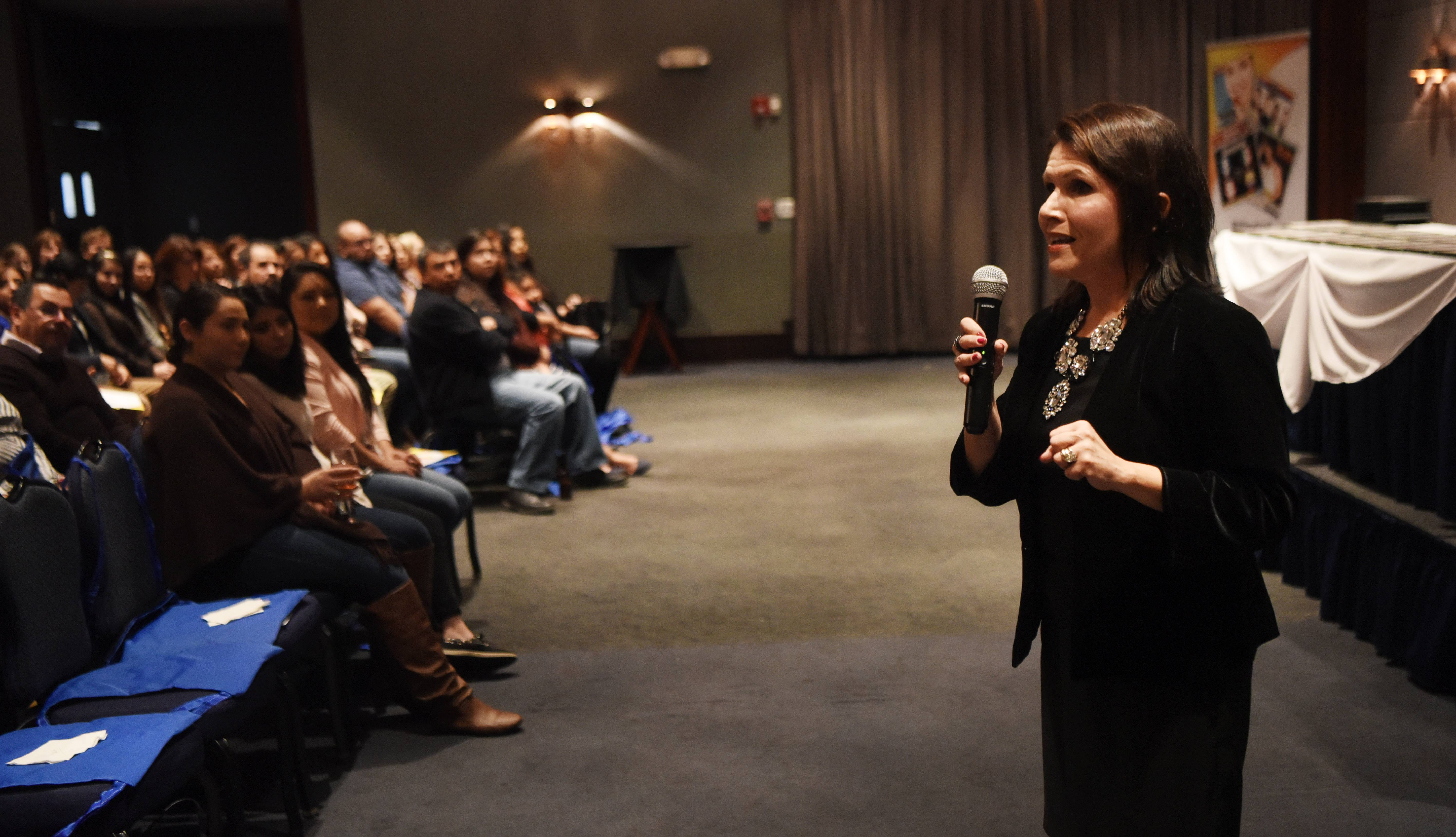 Lt. Gov. Evelyn Sanguinetti speaks during the Reflejos Reflecting Excellence Awards event Wednesday at Stonegate Banquets in Hoffman Estates.