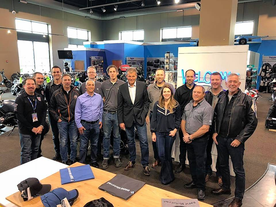 The BMW Motorrad worldwide leadership team visited BMW of St. Charles on Friday, Nov. 9, to begin their partnership.