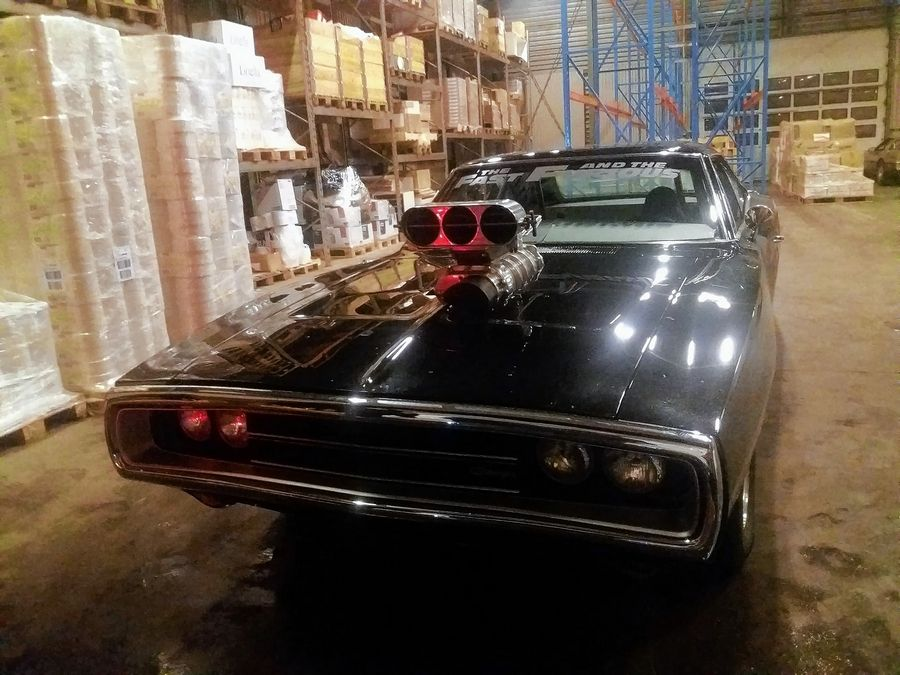 1970 Dodge Charger R/T (actually a '69 that filmmakers modified to look like a supercharged '70) awaiting transport via ship from Norway to New York earlier this fall. The car is on its way back from New York to the Volo Auto Museum, where it will be featured in a new display opening Dec. 26.