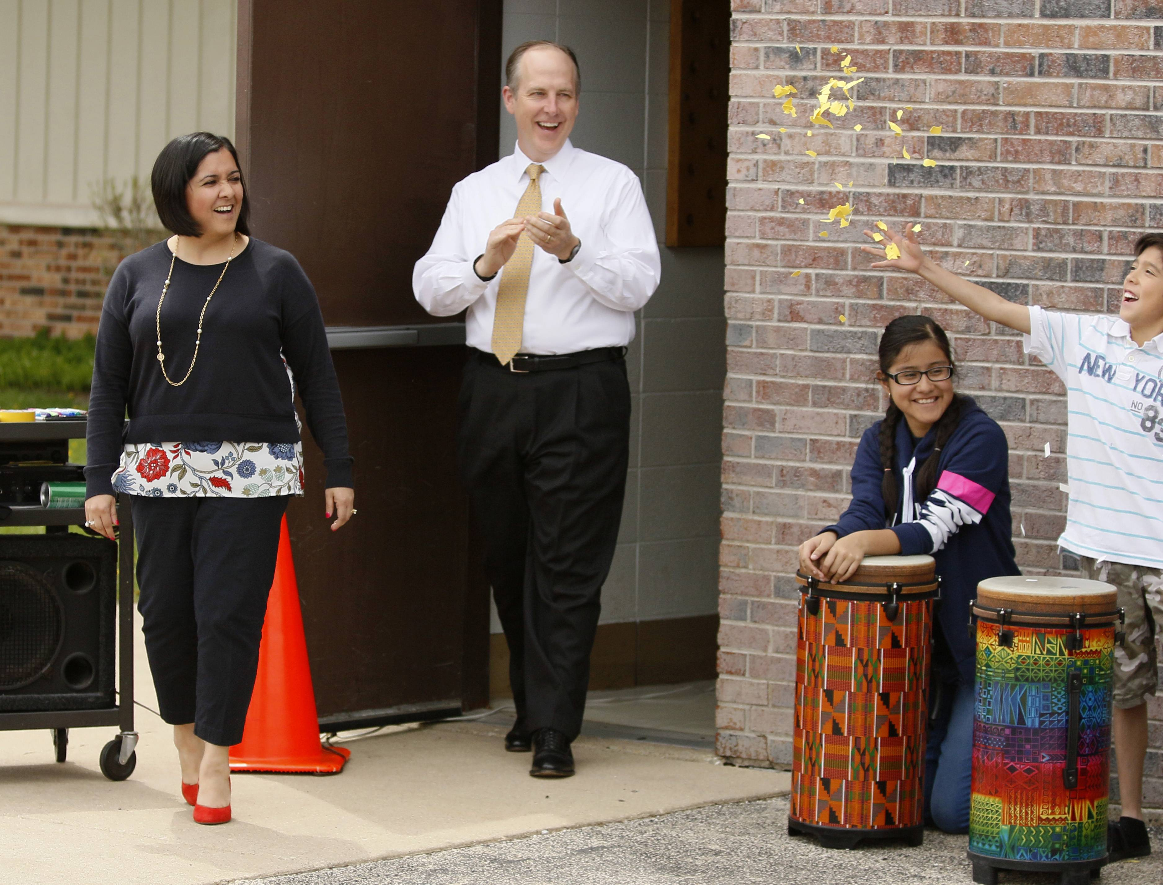 Superintendent Charles Johns, center, is leaving West Chicago Elementary District 33 at the end of the school year to serve as the top administrator in Glenbrook High School District 225.