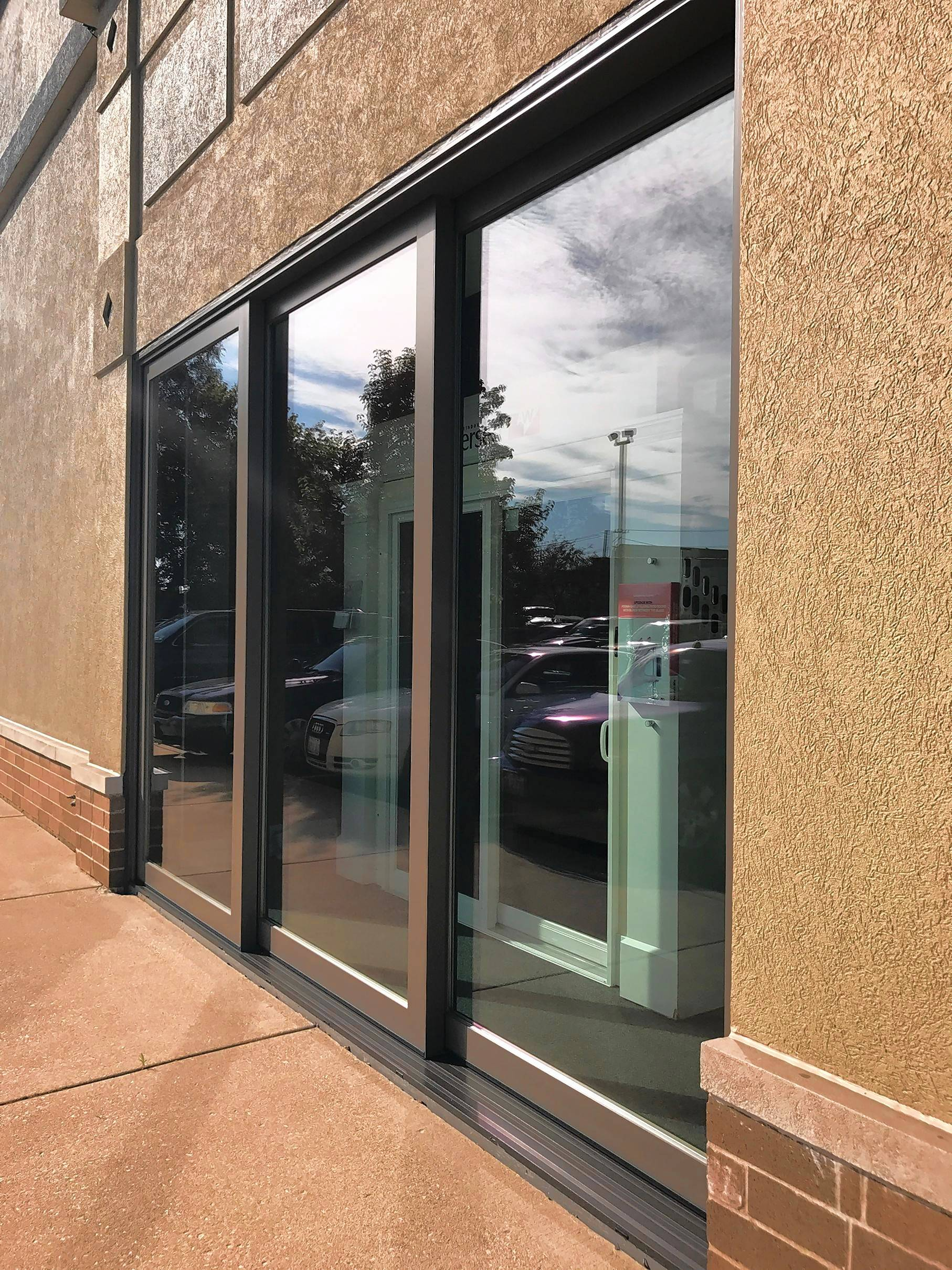 A multi-slide door in Woodland's showroom.