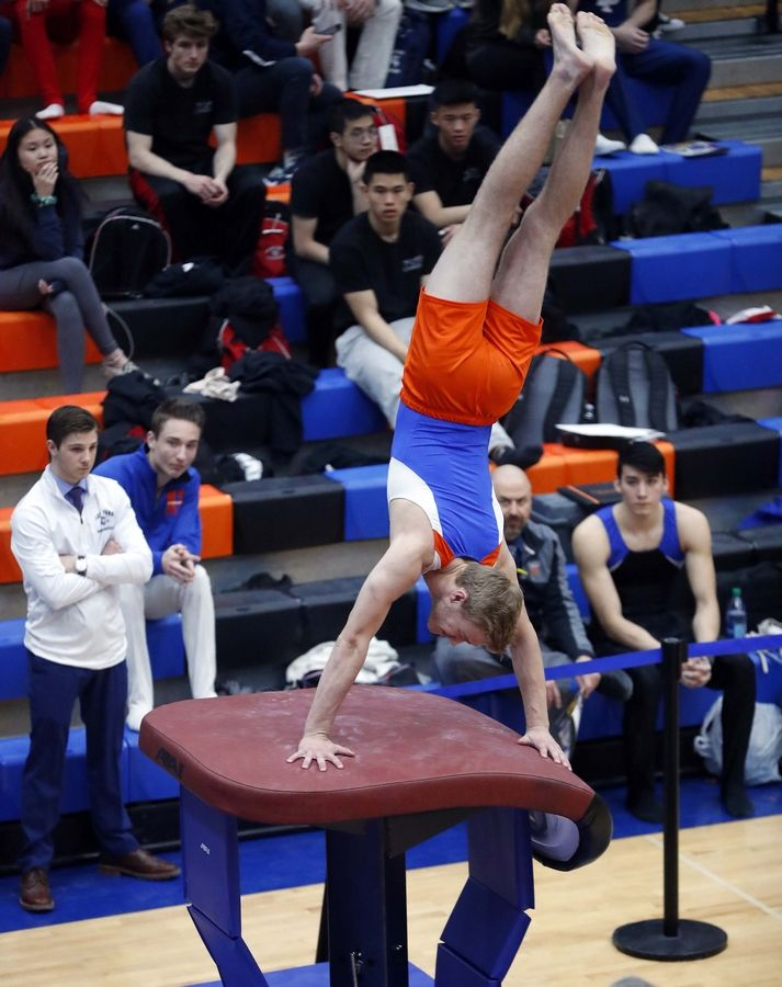 Alex Collier of Hoffman Estates High School on the vault Saturday during the State boys gymnastics meet at Hoffman Estates High School.