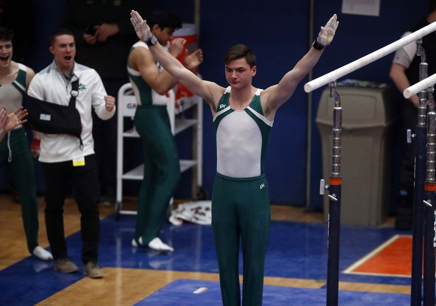 Alexander Demeris of Glenbard West High School on the parallel bars Saturday during the State boys gymnastics meet at Hoffman Estates High School.