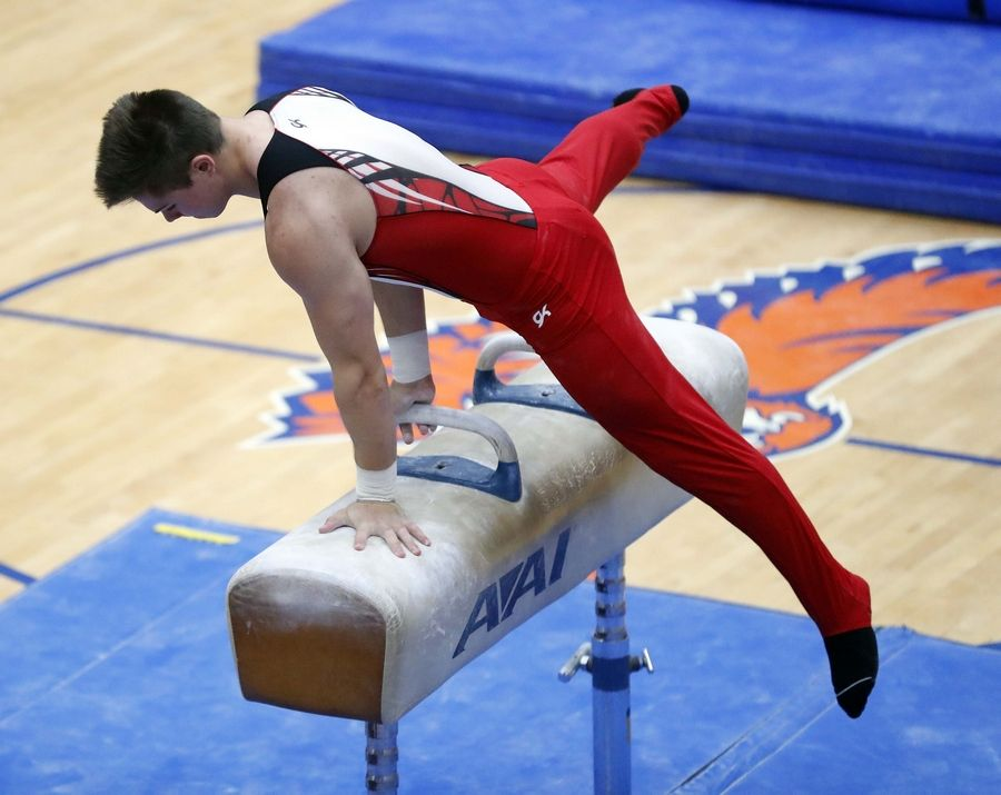Scott Schnurr of Timothy Christian High School on the pommel horse Saturday during the State boys gymnastics meet at Hoffman Estates High School.