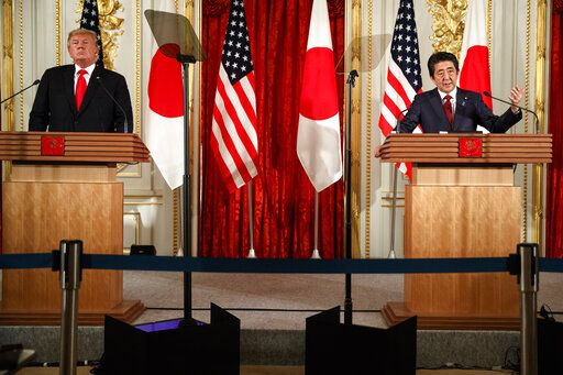 Japanese Prime Minister Shinzo Abe speaks during a news conference with President Donald Trump, at Akasaka Palace, Monday, May 27, 2019, in Tokyo.