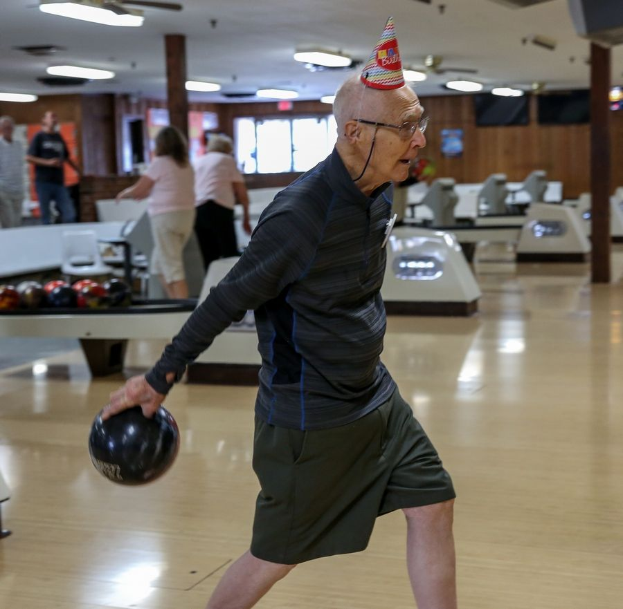 Little kids often have birthday parties at Wood Dale Bowl, but Larry Vakoc celebrates his 100th birthday on the lanes by bowling his age and then some. His average is 120.