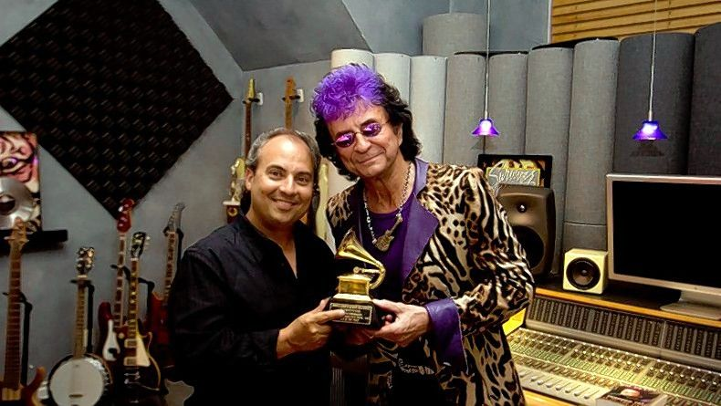 "Musician Jim Peterik, right, who wrote ""Eye of the Tiger"" by Survivor, recently helped Ron Onesti surprise a big fan at the Arcada Theatre in St. Charles."