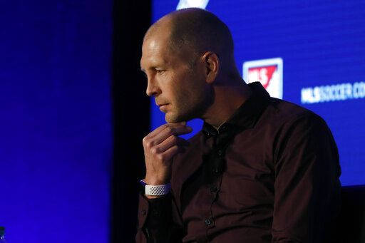 U.S. Men's National Team head coach Gregg Berhalter speaks during the Major League Soccer 25th Season kickoff event in New York, Wednesday, Feb. 26, 2020.