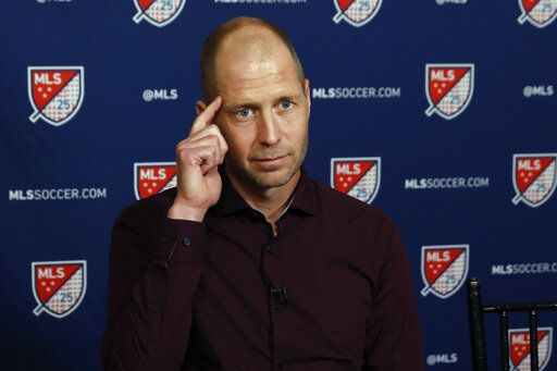 U.S. Men's National Team head coach Gregg Berhalter is interviewed during the Major League Soccer 25th Season kickoff event, in New York, Wednesday, Feb. 26, 2020.