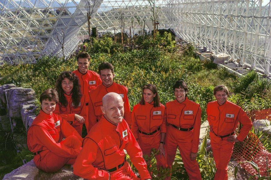 "Dr. Roy Walford, foreground, with candidates for the Biosphere 2 Project from the documentary ""Spaceship Earth."""