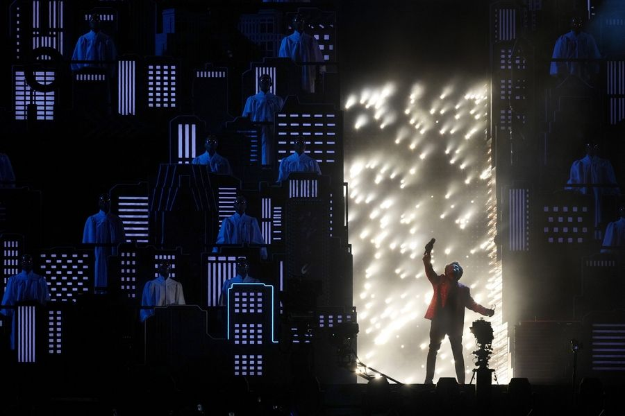 The Weekend performs during halftime of the NFL Super Bowl 55 football game between the Kansas City Chiefs and Tampa Bay Buccaneers, Sunday, Feb. 7, 2021, in Tampa, Fla.