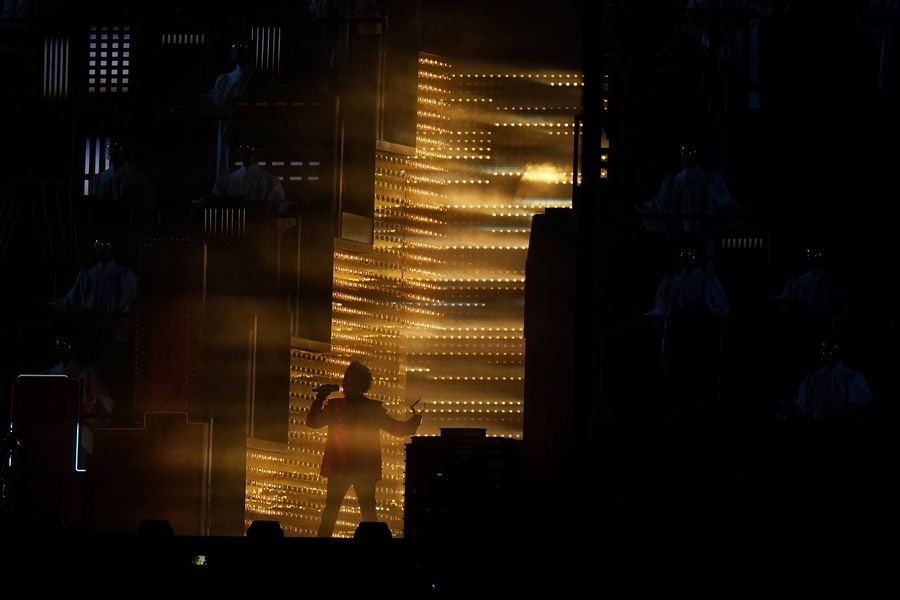 The Weeknd performs during halftime of the NFL Super Bowl 55 football game game between the Kansas City Chiefs and Tampa Bay Buccaneers, Sunday, Feb. 7, 2021, in Tampa, Fla.