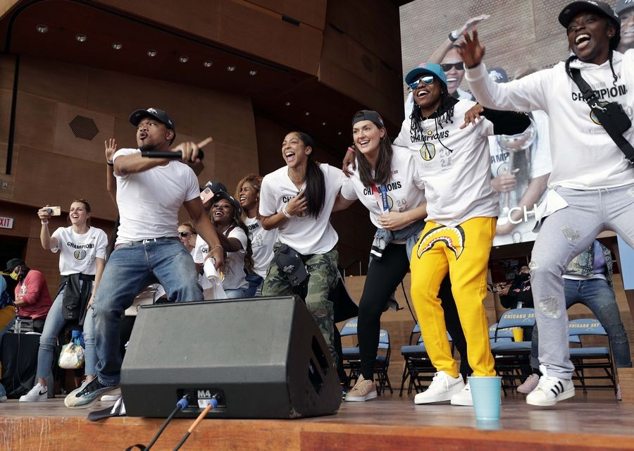 Chance the Rapper will take part in the WNBA Champion Chicago Sky Rally Rally 2021 at the Pritzker Pavilion in Chicago on Tuesday, October 19, 2021.