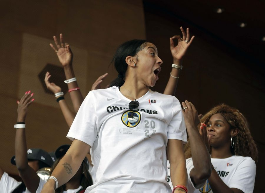 Chicago Sky Forward / Center and former Naperville Central High School athlete Candace Parker takes the stage at the 2021 WNBA Champion Chicago Sky Rally at the Pritzker Pavilion in Chicago on Tuesday, October 19, 2021.